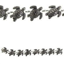 Bead Gallery Large Sea Turtle Metal Beads, Silver