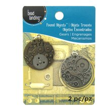 Found Objects Silver & Brass Gear Pendants by Bead Landing