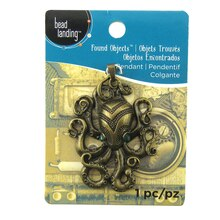 Found Objects Antique Brass Octopus Pendant by Bead Landing