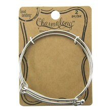 Charmalong Rhodium Slide Bangles by Bead Landing