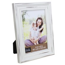 "Simply Essentials 4"" x 6"" White Distressed Tabletop Frame by Studio Décor"