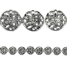Bead Gallery Filigree Disc Metal Beads, Antique Silver