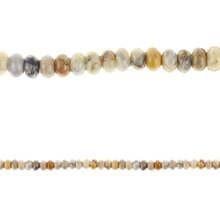 Bead Gallery Crazy Lace Agate Rondelle Beads, Amber