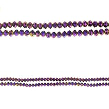 Bead Gallery Small Rondelle Iridescent Glass Beads, Amethyst