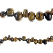Bead Gallery® Tiger Eye Nugget Stone Beads, Brown, Close Up