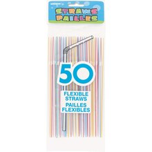 Flexible Striped Plastic Straws, Assorted 50ct