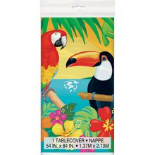 "Plastic Tropical Island Luau Tablecloth, 84"" x 54"""