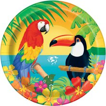 "7"" Tropical Island Luau Party Plates, 8ct"