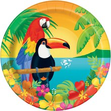 "9"" Tropical Island Luau Party Plates, 8ct"
