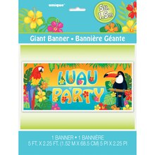 "Plastic Tropical Island Luau Wall Banner, 60"" x 27"", Packaging"