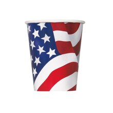 9oz US American Flag Paper Cups, 8ct