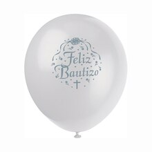 "12"" Latex White Feliz Bautizo Balloons, 8ct"