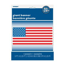 "Plastic American Flag Wall Banner, 60"" x 27"", Packaging"