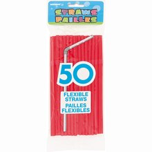Flexible Red Plastic Straws, 50ct