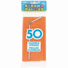 Flexible Orange Plastic Straws, 50ct