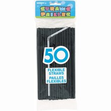 Flexible Black Plastic Straws, 50ct