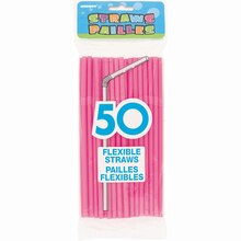 Flexible Hot Pink Plastic Straws, 50ct