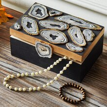 Clay Faux Agate Embellished Wood Box, medium