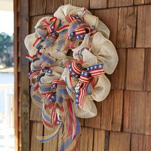 Patriotic Burlap Wreath, medium