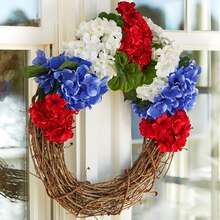 Red White and Blue Water Resistant Floral Wreath, medium