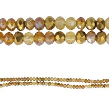 Bead Gallery Small Rondelle Glass Beads, Amber