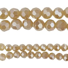 Bead Gallery Round Faceted Glass Beads, Cloudy Amber