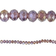 Bead Gallery Rondelle Glass Beads, Amethyst