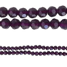 Bead Gallery Round Faceted Glass Beads, Purple