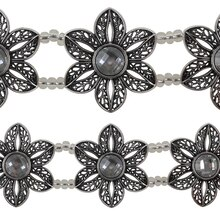 Bead Gallery Flower Glass & Metal Sliders, Silver Crystal