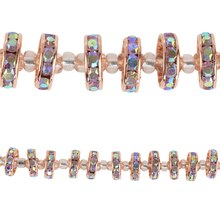 Bead Gallery Crystal Rhinestone Studded Rondelle Beads, Copper