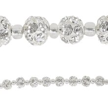 Bead Gallery Rhinestone Studded Metal Ball Beads, Silver
