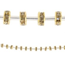 Bead Gallery Rhinestone Studded Rondelle Beads, Amber
