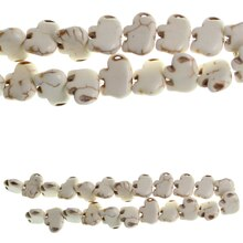 Bead Gallery Elephant Reconstituted Turquoise Stone Beads, White