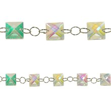 Bead Gallery Square Glass Beads, Crystal AB