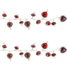 Bead Gallery Wire Wrapped Glass Beads, Ruby