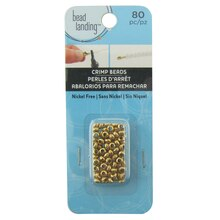 Gold Round Grooved Crimp Beads by Bead Landing, Large