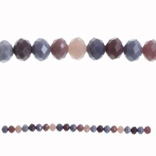 Bead Gallery Rondelle Faceted Glass Beads, Amethyst Mix