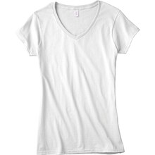 Gildan Short Sleeve Missy V-Neck T-Shirt, X Large, White