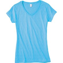 Gildan Short Sleeve Missy V-Neck T-Shirt, Small, Sky