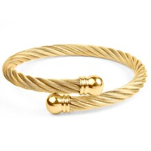 Women's Gold Twist Rope with Knob Ends Cuff Bracelet