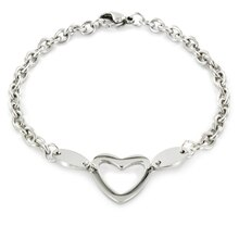 ELYA Stainless Steel Polished Heart Cut Out Charm Bracelet