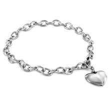 ELYA Stainless Steel Polished Puffy Heart Charm Bracelet