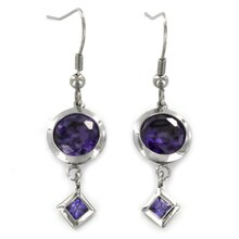 Stainless Steel Amethyst Cubic Zirconia Dangle Earrings