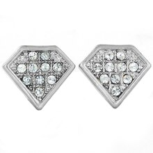 Micropavé Crystal Diamond Shaped Stud Earrings, Silver