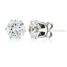 Women's Stainless Steel 8mm Round Cut Cubic Zirconia Stud Earrings Profile