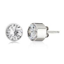 Women's Stainless Steel Bezeled 8mm Cubic Zirconia Stud Earrings Profile