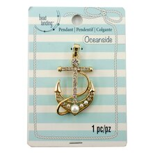 Oceanside Gold Pearl Anchor Pendant by Bead Landing