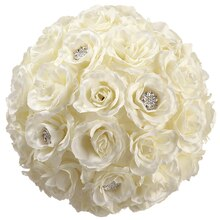 "11"" Rose Kissing Ball with Rhinestones"
