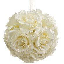 "6"" Rose Kissing Ball, Cream"