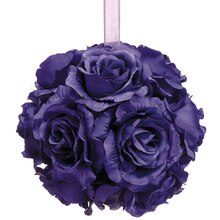 "6"" Rose Kissing Ball, Purple"